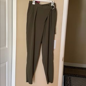 d09026246 Olive Colored Trousers w/overlap design and belt!